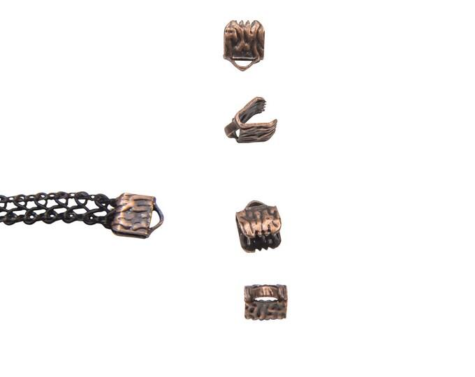 16pcs.  6mm (1/4 inch) Antique Copper Ribbon Clamp End Crimps - Artisan Series