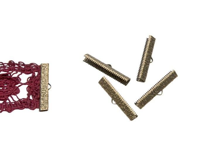 16 pieces  35mm (1  3/8 inch)  Antique Bronze Ribbon Clamp End Crimps - Artisan Series