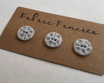 Custom name and colour hand made buttons