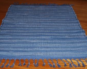 Handwoven Blue Denim Rag Rug