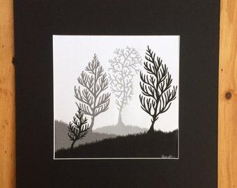 Four Winter Trees Original Papercut