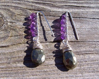 Amethyst and pyrite sterling silver dangle earrings, amethyst jewelry, pyrite jewelry, genuine gemstone earrings