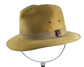 Brushed Cotton Khaki Fedora Vintage Men's Hat Size Small