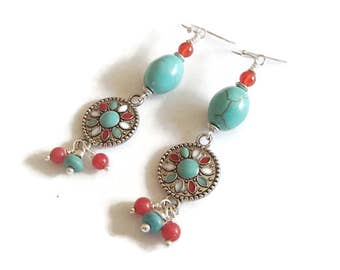 Southwestern Style Earrings Turquoise and Carnelian Medallions