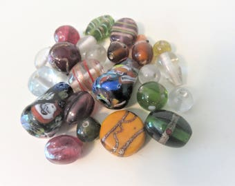 Glass Bead Lot,  22 Beads  various sizes and shapes and colors
