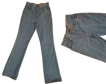 Vintage 70s High Waisted Jeans 1970s Hippie Bell Bottom Jeans Vintage Denim Flare Leg Hippie Jeans Silver Dollar 70s Bells Bottoms 26 Waist