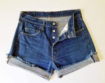 1960s Vintage Levis BIG E Levi Cutoffs  High Waist Vintage Levi 501s Redline Jean Cutoffs Levi Shorts 30 Waist