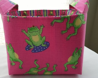 Fabric Organizer Basket Storage Container Bin - Pink with Green Frogs