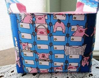Fabric Organizer Basket Storage Bin Container - Pigs Blue Newspaper