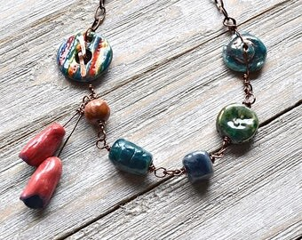 Artisan Ceramic Beads Necklace