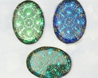 Vintage Glass Cabochons RARE 3 pcs 18x13 Iridescent blue green Opal Stones S-38