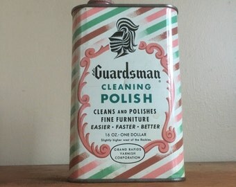 Guardsman Cleaning Polish. Vintage Tin. Great Graphics and Colors. Grand Rapids Varnish Corp.