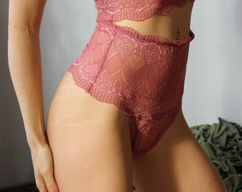 high waisted lace panties with tanga thong back - womens lingerie range - ROMANTIC - made to order