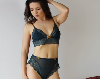 high waisted lingerie set in sheer mesh with lace trimmed bralette and lace trimmed panties JESTER - made to order