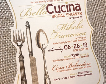 BellaCucina Beautiful Kitchen Tuscan Italian Ivory Linen Vintage Frame Shape fork spoon knife Utensil Bridal Shower Tea Invitation... Sample