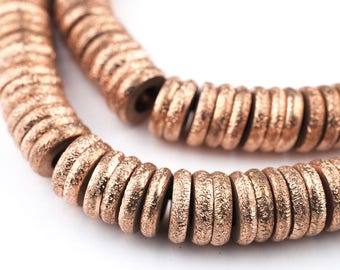 170 Copper Donut Beads: Metal Spacer Beads Ethnic Metal Beads Ring Shaped Beads Boho Copper Beads 10mm Copper Beads (MET-RNG-CPR-540)