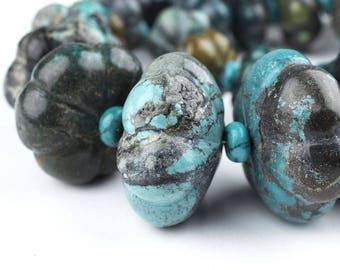 28 Flower-Shape Authentic Turquoise Beads: Turquoise Gemstone Natural Turquoise Stone Unusual Beads Blue Stone Beads (UNQ-TRQ-1925)