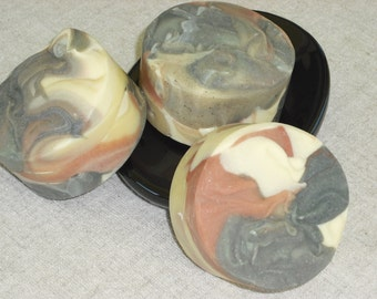 Marbled Lemongrass Soap / Essential Oil Soap / Men Soap / Round Soap / Big Bar 6 oz / Handmade Cold Process Soap