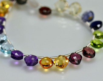 Multi Gemstone Briolettes Micro Faceted  Diamond Shape Briolette Beads