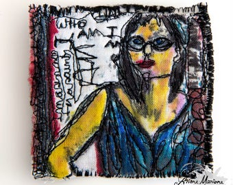 Selfportrait From Selfie -  Reproduction Art Pin With - One of a kind Art Made in France