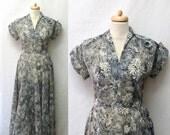 1940s Vintage Crepe Chiffon Dress / Black & White Floral Sketch Print Dress-RESERVED for FBF