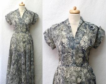 1940s Vintage Crepe Chiffon Dress / Black & White Floral Sketch Print Dress