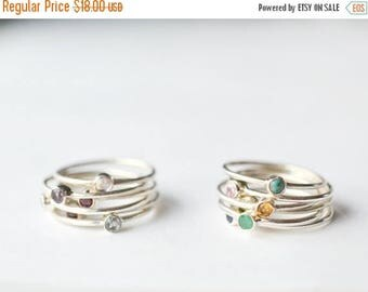 Mothers Day Ring - Stackable Birthstone Rings - Mom Ring - Mothers Birthstone Ring - Gemstone Stacking Rings - Mothers Ring  Thin Band Ring