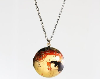Mother and Child Locket Necklace, Gustav Klimt Necklace, Large Pendant, Long Chain, Art Photo Jewelry, Antiqued Brass