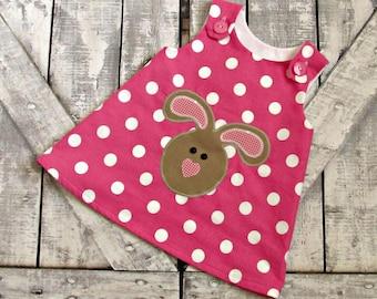 Girl Custom Easter Dress- A Line Dress- Toddler Dress- Baby Girl Dress- Easter Bunny Dress- 3 6 12 18 24 months 2 3 4 5 6 years