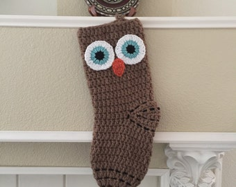 Crochet Owl Christmas Stocking