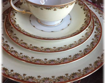 Vintage Japan Meito China 50 PC Service for 6 + Serving Pcs, Gold Trim,  Pattern MEI196, Excellent Condition