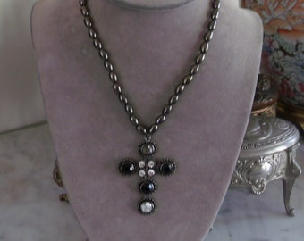 Vintage Cookie Lee Maltese Cross Necklace Gothic Choker