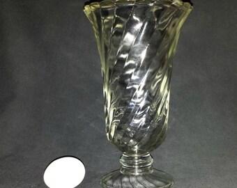 Swirled Clear Glass Vase / Tall Glass Vase / Wedding Vase / Party Vase / Vase for Centerpiece