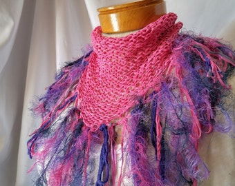 Hot Pink Knit fringe scarf Triangle shawl Long soft fluffy pink fuchsia purple Ladies office wear Summer cover up Christmas gift for her