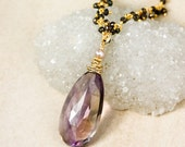 Purple Ametrine Teardrop Necklace on Black Pyrite Chain - Layering Necklace - 14Kt Gold Filled