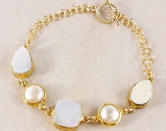 CHRISTMAS SALE White Druzy Bracelet – Button Freshwater Pearl – 14K Gold Filled
