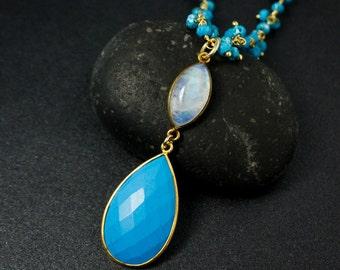 Gold Blue Turquoise & Rainbow Moonstone Necklace - Turquoise Chain - Boho Jewelry