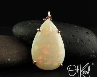 Rose Gold Pink Fire Opal Necklace - Teardrop Opal Necklace - 10Kt Rose Gold