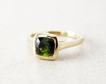 ON SALE Gold Green Tourmaline Cushion Cut Ring - 10Kt Yellow Gold - Engagement Ring