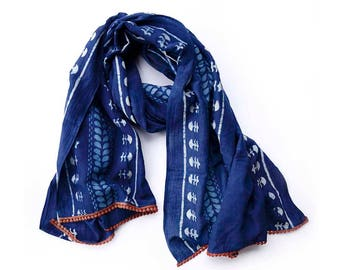 indigo scarf blue scarf Dark blue Navy hand printed hand dyed wholesale scarf Cotton/Silk women Fashion Accessories anniversary gift - Nila