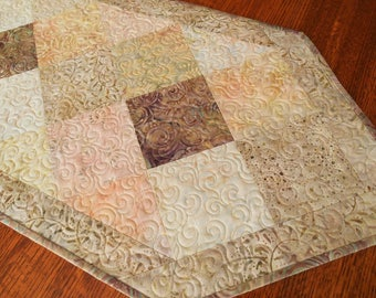 Quilted Batik Table Runner in Soft Seashell Colors, Cream Pink Peach Mauve and Taupe, Bedroom Decor, Gift for Her, Quilted Table Topper