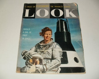 Vintage Look Magazine February 12 1960 - Should a Girl be First in Space Cover - Art Scrapbooking Collectible