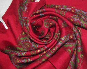Vintage Square Silk Scarf - Red with Paisley Pattern - Made in England - Soft Silk, Classic Paisley Print in Blue, Green, Yellow