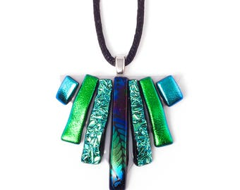 Blue & Green Triangle Necklace