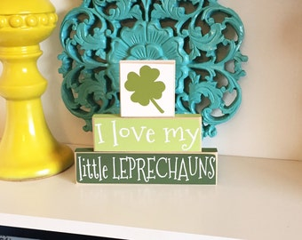 I love My Little Leprechauns Stackers- St Patricks Day Decor, St Patricks Day Blocks, Leprechaun Blocks, Leprechaun Decor, St Pattys Day