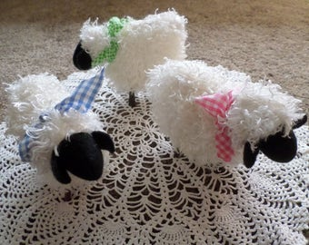 Set of Three Prim Curly Hair Stick Leg Sheep Spring Easter Decorations Ornies
