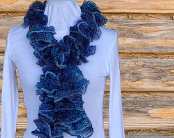 Blue Ruffle Scarf, Blue Scarves, Ruffle Scarves in Blue, Ruffle Yarn Scarf with Metallic Accent, Ruffled Scarves, Blue Lacy Scarf