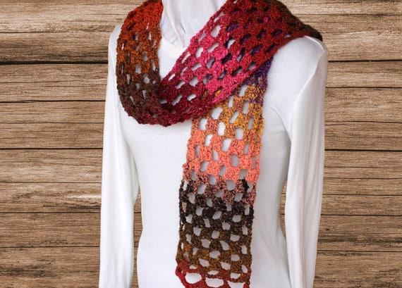 Easy to Crochet Scarf Pattern, Taiyo Lace Scarf Tutorial, Crochet Pattern for Lace Scarf, Crochet Scarf Pattern using Noro Yarn