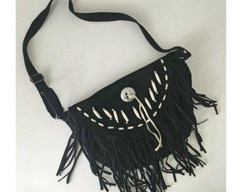 Vintage Black Suede Fringe Handbag