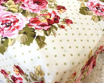 Rambling Roses Cotton Crib Sheet, Shabby Rose Crib Sheet, Fitted Crib Sheet, Sheet for Baby, Crib Sheet for Baby Girl, Standard Crib Sheet